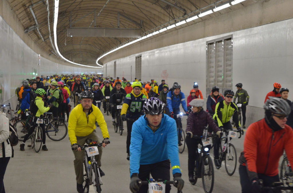 Cyclists in new tunnel